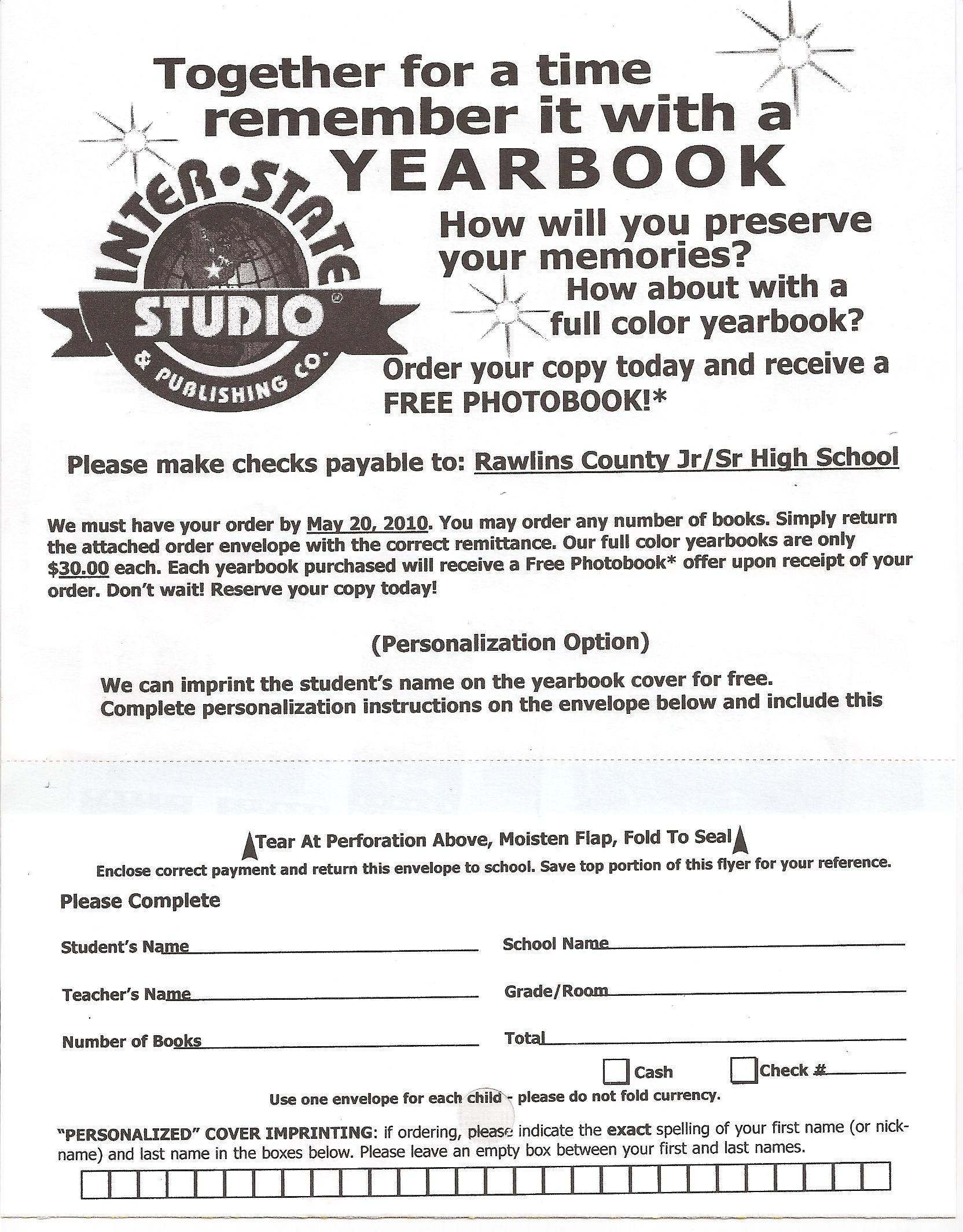 RCHS Yearbook Order Form